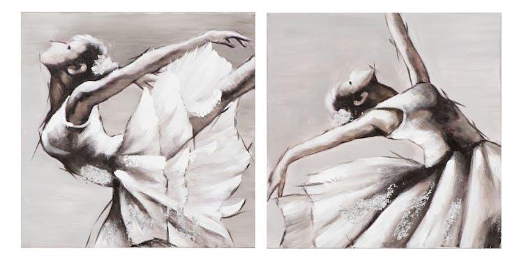 Lot de 2 Tableaux Danseuse Classique ton neutres blancs, beiges gris et noirs 2x 25x25cm