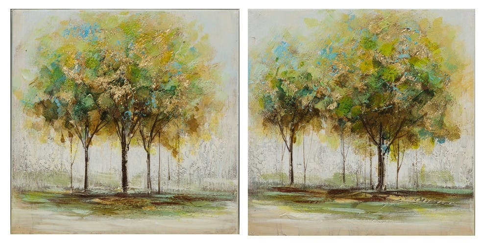 Lot de 2 tableaux FORET Arbres peinture acrylique et feuilles métal - tons marrons, verts, bleus et dorés 2X 25x25cm