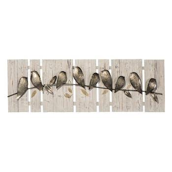Tableau ANIMAUX Oiseaux alignés tons beiges, bruns, blancs et dorés 40x120cm
