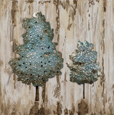 Tableau FORET Arbres bleus tons beiges, bruns et argentés 60x60cm