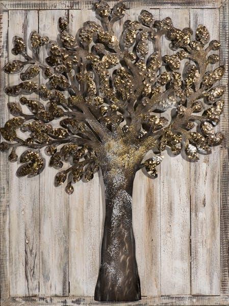 Tableau FORET Arbre doré tons beiges, bruns et argentés 60x80cm