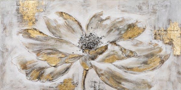 Tableau FLEURS tons noirs, blancs et dorés 70x140cm