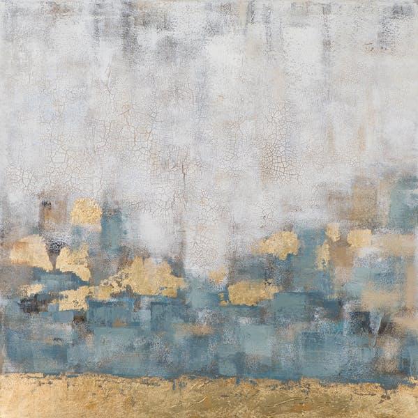 Tableau ABSTRAIT dominante beige tons bleus et dorés 100x100cm