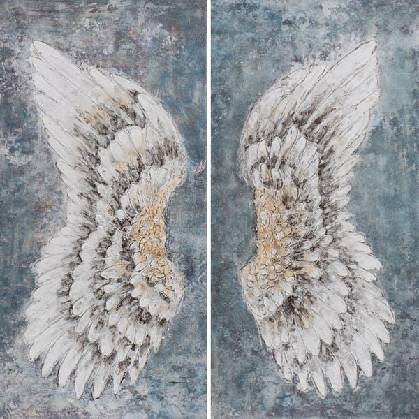 Tableau ANIMAUX ailes d'oiseau tons noirs, blancs et beiges 140x140cm