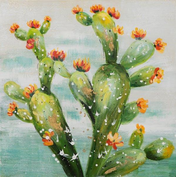 Tableau FLEURS cactus en fleurs tons verts, orangés, bleus et blancs 60x60cm