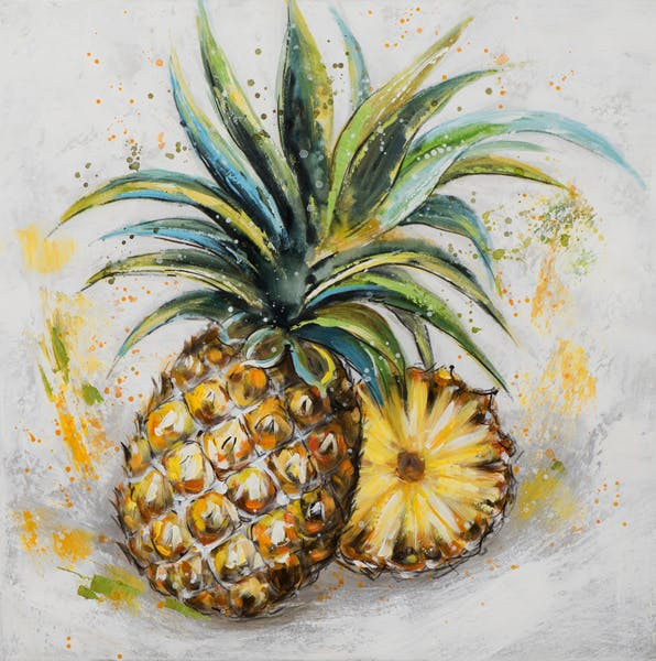 Tableau FLEURS ananas tons jaunes, verts, bruns et blancs 60x60cm