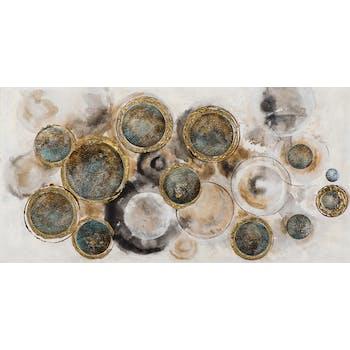 Tableau ABSTRAIT cercles tons beiges, bruns, noirs et blancs 70x140cm