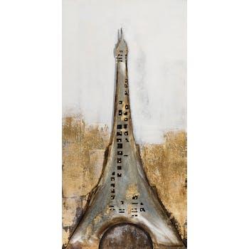 Tableau PAYSAGE Tour Eiffel tons noirs, blancs et bruns 60x120cm