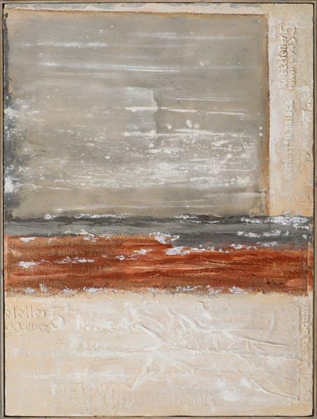 Tableau ABSTRAIT carré et bandes tons beiges, bruns, rouges et argentés 92x122cm