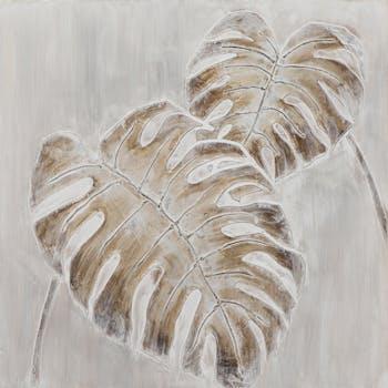 Tableau FORET 2 feuilles tropicales tons blancs et beiges 60x60cm