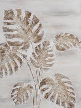 Tableau FORET feuilles tropicales tons beiges et blancs 60x60cm