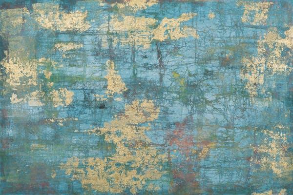 Tableau ABSTRAIT dominante bleue et dorée 100x150cm