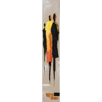 Tableau FEMMES tons noirs, rouges et jaunes 25x150cm