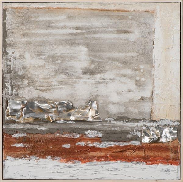 Tableau ABSTRAIT dominante beige et blanc, tons argentés et rouges 102x102cm