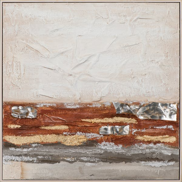 Tableau ABSTRAIT dominante beige, tons rouges et dorés 72x72cm