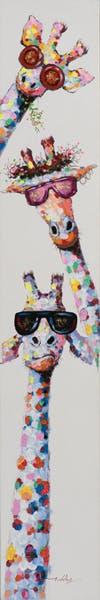 Tableau ANIMAL POP-ART trois girafes à lunettes 25x150cm