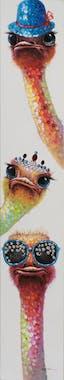 Tableau ANIMAL POP-ART trois autruches à lunettes couleurs vives 25x150cm