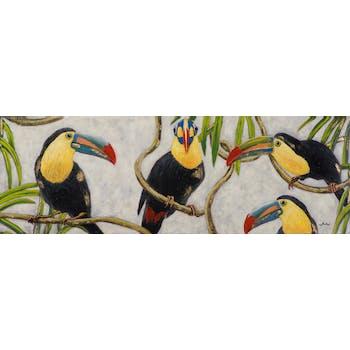 Tableau ANIMAL toucans sur branches tons noirs, jaunes, verts et blancs 50x150cm