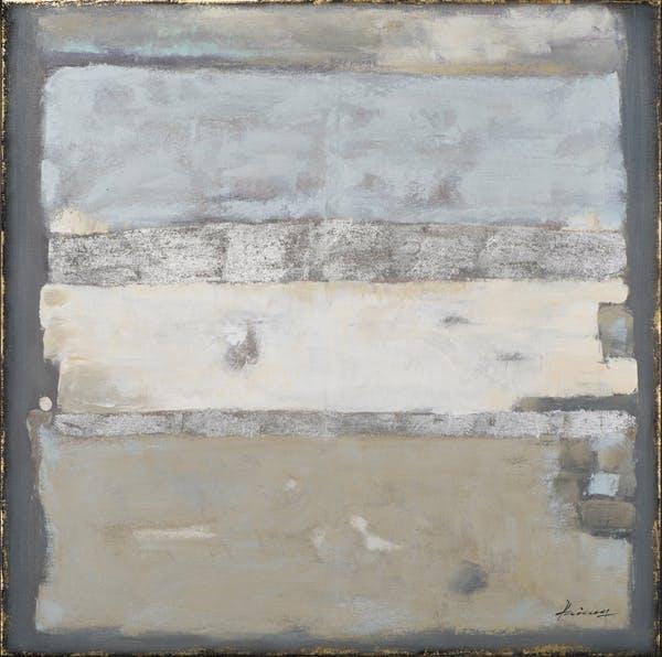 Tableau ABSTRAIT bandes horizontales tons blancs, beiges et bruns 100x100cm