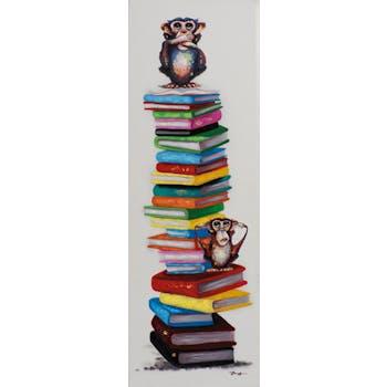 Tableau POP-ART singes sur pile de livres 40x120cm