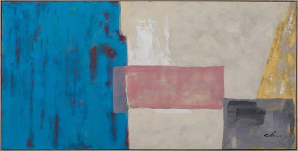 Tableau ABSTRAIT patchwork coloré tons bleus, beiges, bruns et noirs 72x142cm