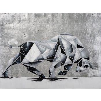 Tableau ANIMAL taureau qui charge tons noirs et blancs 90x120cm