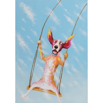 Tableau ANIMAL POP-ART chien sur balançoire 70x100cm