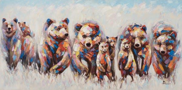Tableau ANIMAL POP-ART groupe d'ours 70x140cm