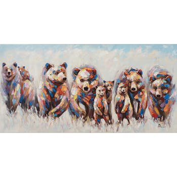Tableau ANIMAL POP-ART groupe d'ours 70x140cm