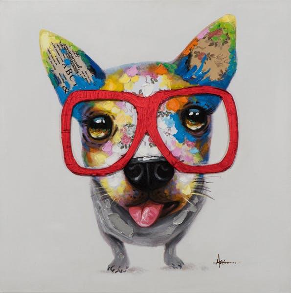 Tableau ANIMAL POP-ART petit chien à lunettes 70x70cm