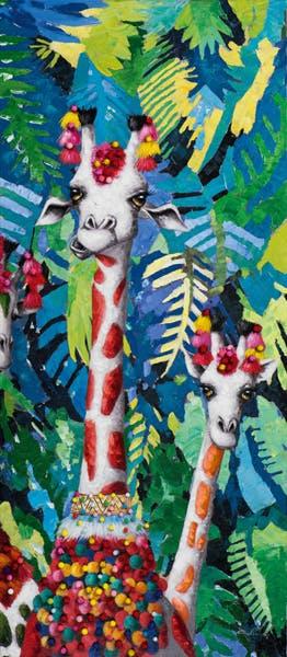 Tableau ANIMAL POP-ART 2 girafes dans la jungle 70x160cm