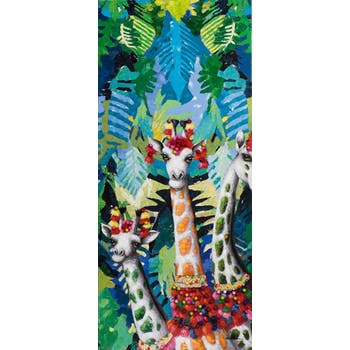 Tableau ANIMAL POP-ART 3 girafes dans la jungle 70x160cm