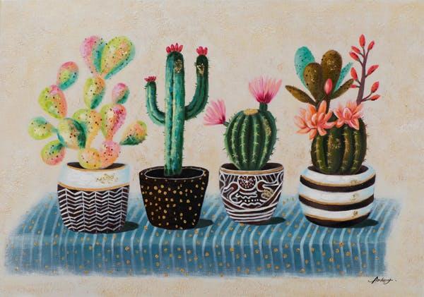 Tableau FLEURS cactus dans leurs pots tons verts, orangés, bleus et bruns 70x100cm