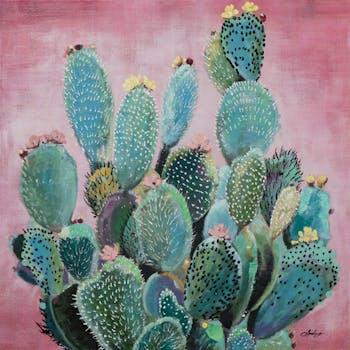 Tableau FLEURS cactus sur fond marron tons verts, rouges et bleus 80x80cm