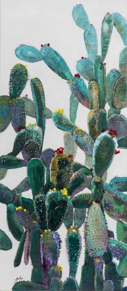 Tableau FLEURS cactus sur fond blanc tons verts, rouges, jaunes et bleus 70x160cm