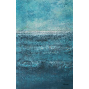 Tableau ABSTRAIT tons bleus 90x140cm