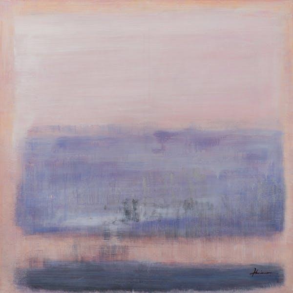 Tableau ABSTRAIT dominante beige, tons bleus, noirs et blancs 115x115cm