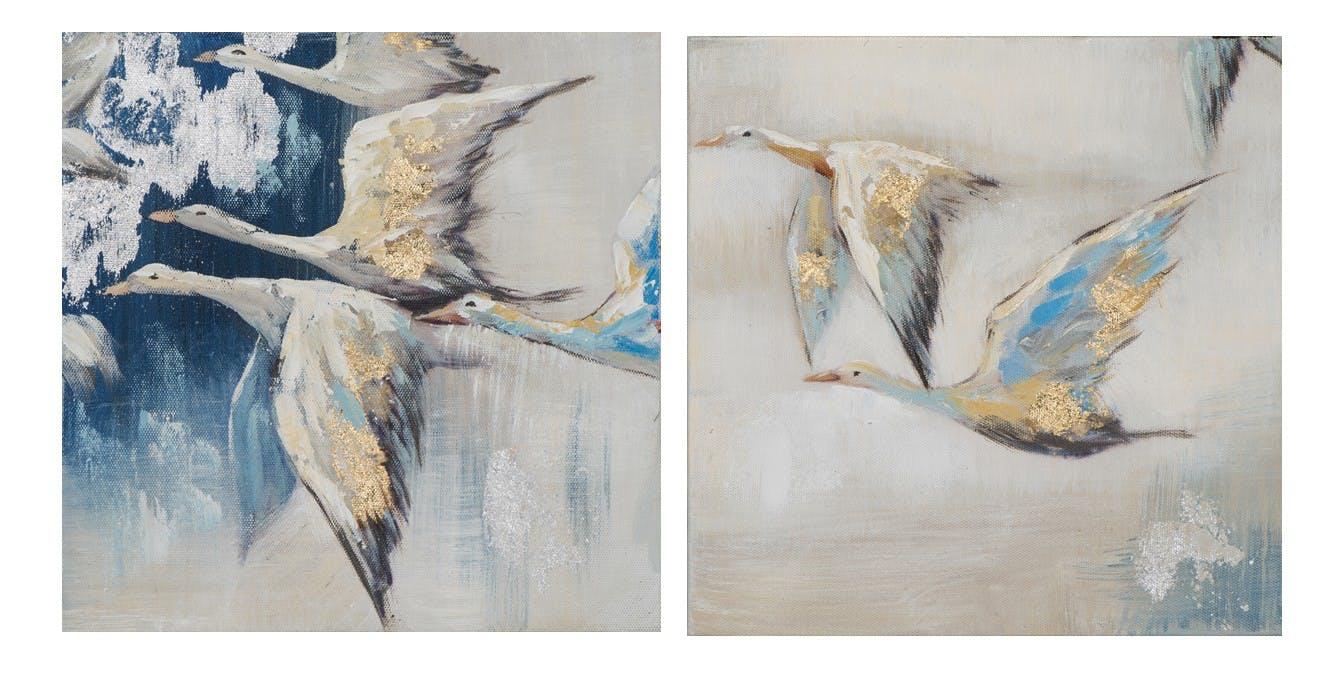 Lot de 2 tableaux ANIMAUX envolée d'oies tons beiges, bruns et bleus 25x25cm
