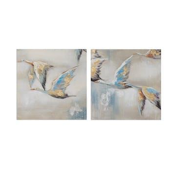 Lot de 2 tableaux ANIMAUX envolée d'oies tons beiges, bruns, bleus et jaunes 25x25cm