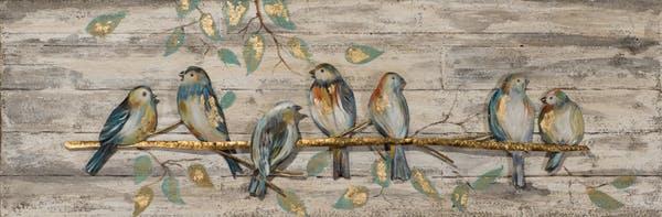 Tableau ANIMAUX Oiseaux sur branche tons noirs, blancs, beiges, bruns 40x120cm