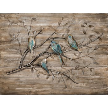 Tableau ANIMAUX Branche et oiseaux tons blancs, beiges, bruns, bleus et dorés 60x80cm