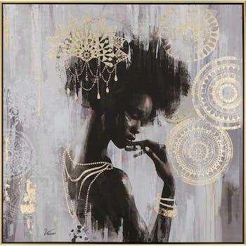 Tableau FEMME Africaine tons noirs, blancs et dorés 82x82cm