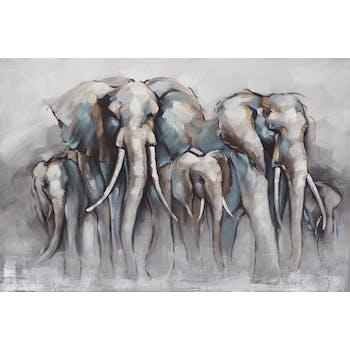 Tableau ANIMAUX troupeau Éléphants tons noirs, blancs, beiges, bruns et bleus 100x150cm