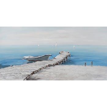 Tableau MARINE ponton et bateau tons bleus, noirs, blancs et beiges 70x140cm