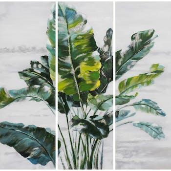 Tableau FLEURS Feuilles tons verts, beiges, noirs et blancs 90x90cm