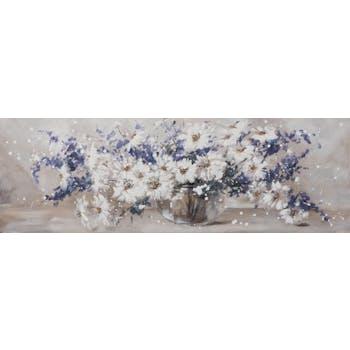 Tableau FLEURS Bouquet de fleurs dans vase tons beiges, bleus, blancs et noirs 50x150cm