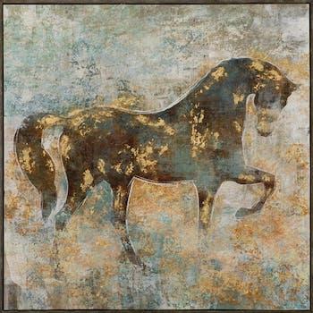 Tableau ANIMAUX Cheval tons beiges, blancs, bruns et dorés 102x102cm