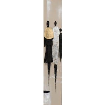 Tableau FEMMES tons beiges, noirs et dorés 25x150cm