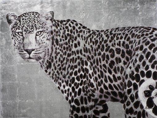 Tableau ANIMAUX Léopard noir et blanc 90x120cm