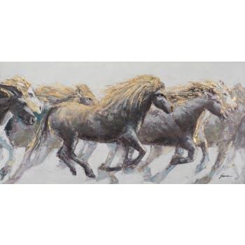 Tableau ANIMAUX Troupeau de chevaux tons beiges, bruns, noirs et blancs 70x140cm